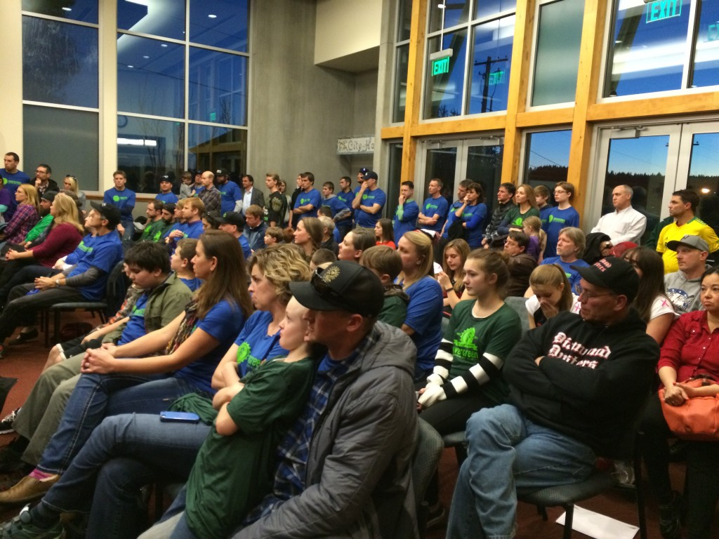 Residents and supporters cram into the Poulsbo City Council chambers to hear proposals for what the Little Valley Ball Field should become.