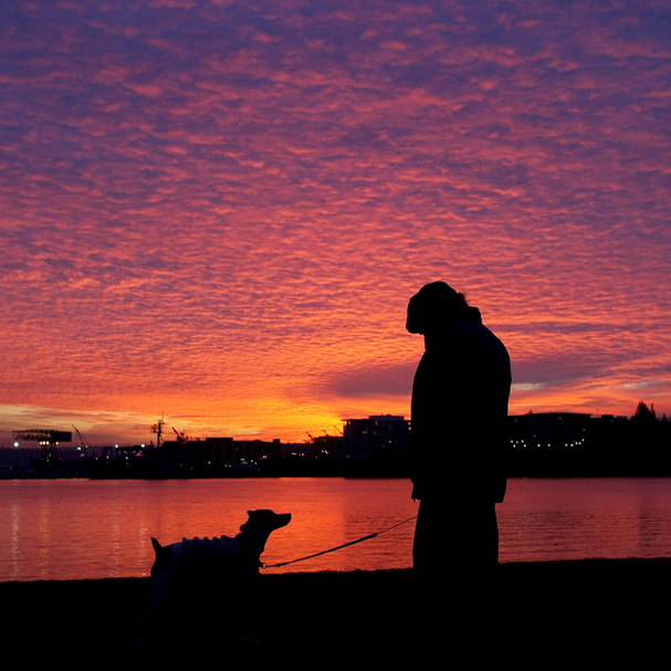 Lee Hoffman of Manette and his dog Sir Jack have a spectacular view of a sunset over Bremerton from Shore Drive in Manette on Friday. (LARRY STEAGALL / KITSAP SUN)