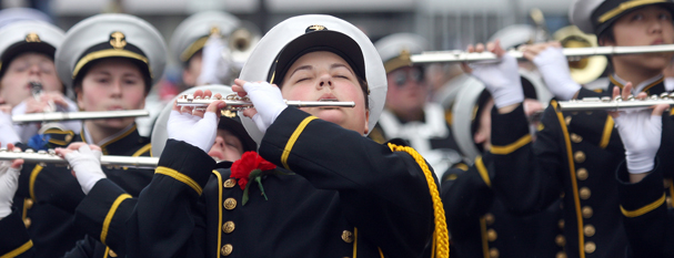Bremerton High School Marching Band flute player Autumn Bondy,16, performs at the Armed Forces Day Parade in downtown Bremerton. LARRY STEAGALL / KITSAP SUN
