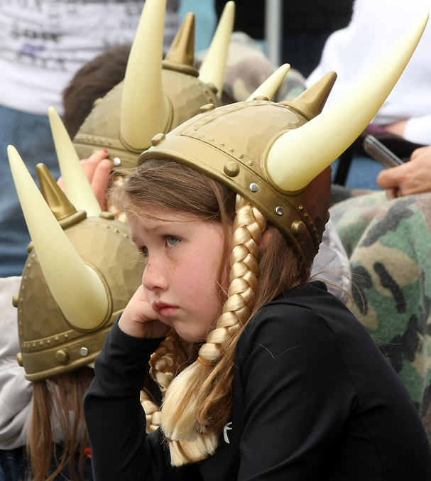 Holly Beaudoin, 8, wears her viking helmet while she watches the Viking Fest Parade travel through downtown Poulsbo, WA on Saturday, May 21, 2011 (Meegan M. Reid/Kitsap Sun)