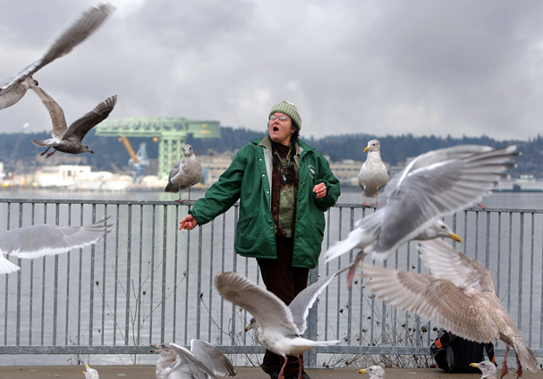 Anita TwoBears of Bremerton calls out to the seagulls in Port Orchard as she waits for the passenger ferry last Tuesday. (LARRY STEAGALL / KITSAP SUN)