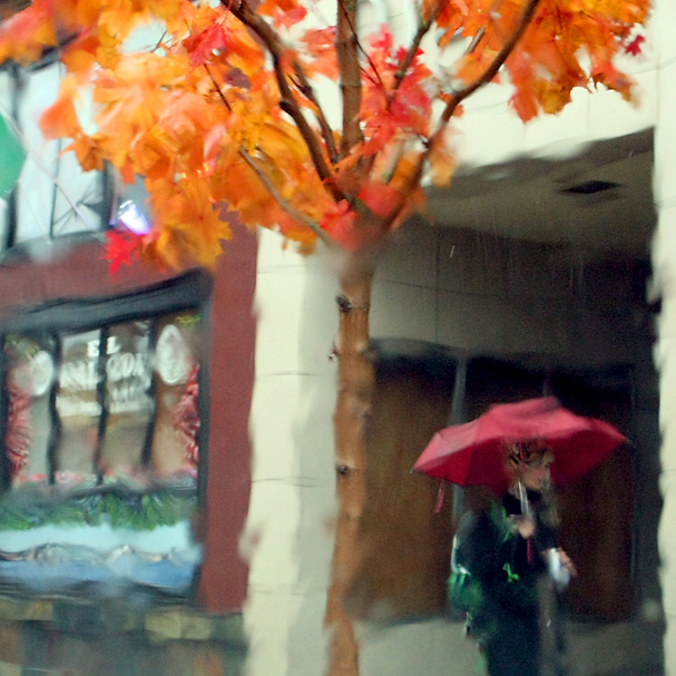 The view through a rain soaked windshield causes a painterly effect as a pedestrian with an umbrella walks along Pacific Avenue in Bremerton. (MEEGAN M. REID / KITSAP SUN)