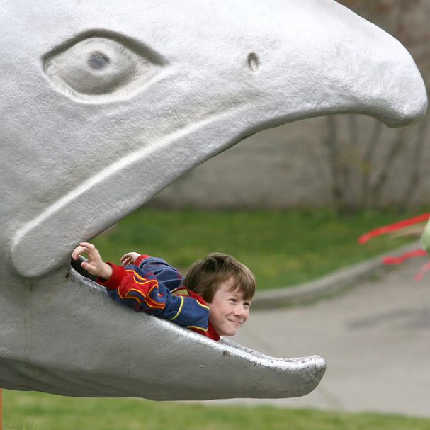 Pierceson Krieg, 9, from Brownsville Elementary School plays like he is the bait in the mouth of a salmon at the Kitsap Water Festival. (LARRY STEAGALL / KITSAP SUN)