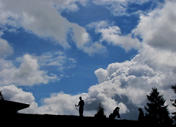 San Diego State golfer Alexis Piacente finishes his first round under cloudy skies at the 2013 West Coast Conference Championships at the Gold Mountain Golf Club on Monday. (LARRY STEAGALL / KITSAP SUN)