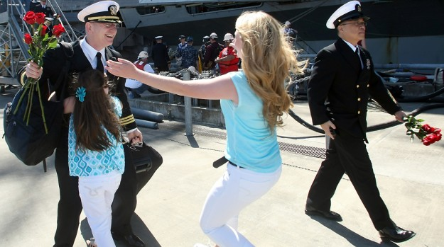 USS John C. Stennis returns from deployment to Naval Base Kitsap-Bremerton on Friday, May, 3, 2013. (MEEGAN M. REID / KITSAP SUN)