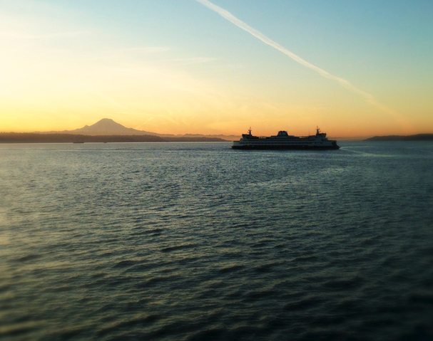 Mt. Rainier and Ferry by John Haffner