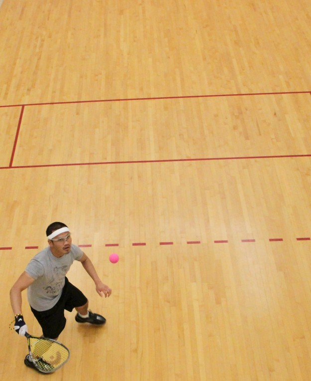 Rudy Romen prepares to return a shot while playing racquet ball at the Bremerton Tennis and Athletic Club on Friday, May 31, 2013. (MEEGAN M. REID / KITSAP SUN)