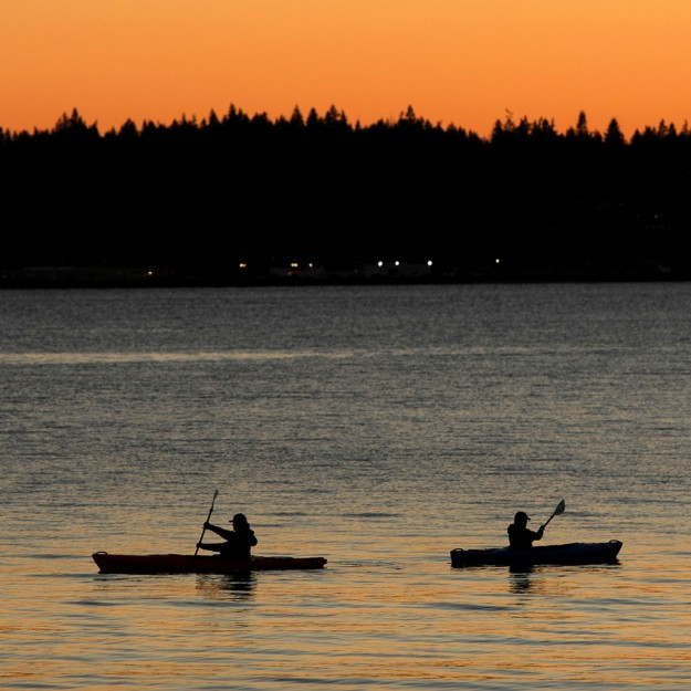 Sunset Kayakers by Larry Steagall