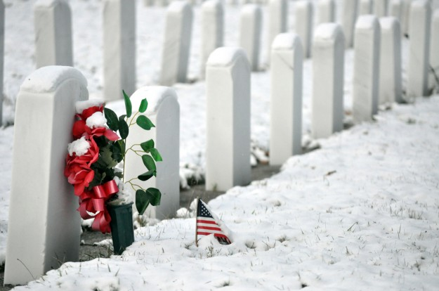 Not Forgotten by Jim Michelinie I like the composition of this shot and how the headstones run diagonally from corner to corner in the frame. While the repetition of the headstones is great it is that splash of color in the ribbon, plant and small flag almost buried in the snow that gives the image a wonderful focal point.