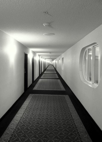 A quiet and long hallway by Jane Raudabaugh