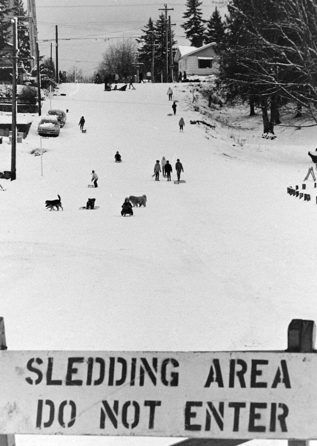 January 15, 1971 Sledding On Kendall Street Port Orchard Bremerton Sun / Richard Ellis