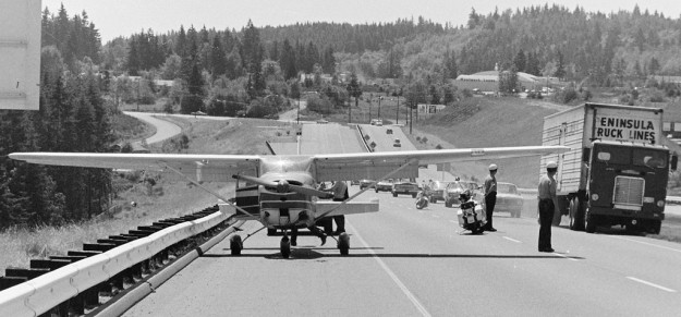July 3, 1970 Airplane Down On Freeway Bremerton Sun / Richard Ellis