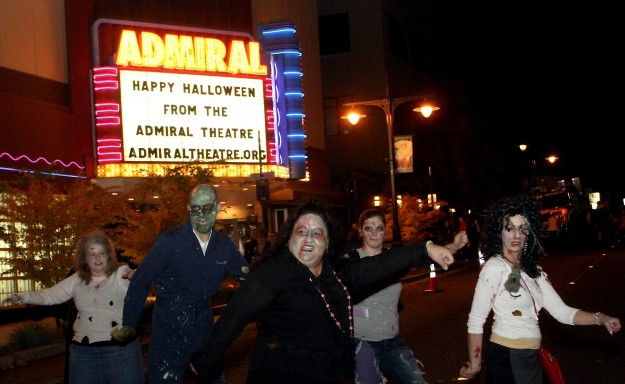 Zombie's dance to Michael Jackson's Thriller during Downtown Bremerton's 17th Annual Safe Trick of Treat on Thursday, October 31, 2013. (MEEGAN M. REID / KITSAP SUN)