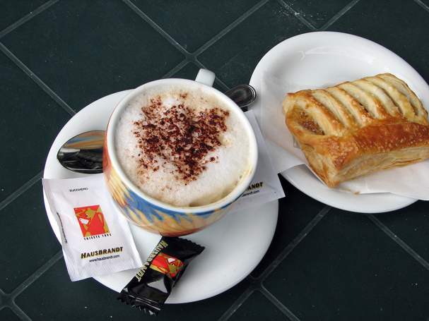 A typical breakfast of Italian coffee, and a roll in Maniago, Italy. (LARRY STEAGALL)