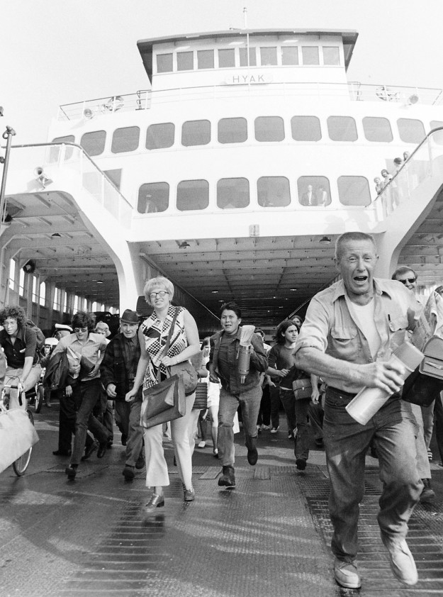 6/23/73 Ferry Commuters by Cliff McNair Jr. / Bremerton Sun