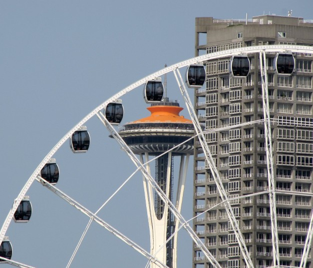 The Seattle Great Wheel and the Space Needle from the Bremerton to Seattle ferry. LARRY STEAGALL / KITSAP SUN