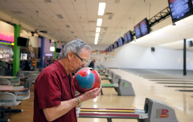 Hi-Joy Bowl in Port Orchard regular bowler Bob Smith of Port Orchard goes through his pre-roll ritual on Tuesday. The bowing alley is under new ownership. He comes to bowl four times a week. LARRY STEAGALL / KITSAP SUN