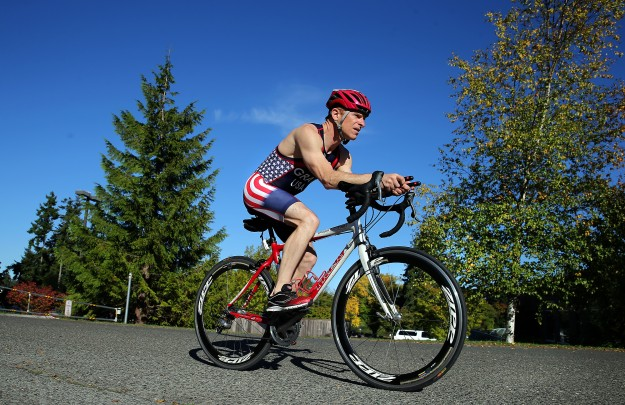 Darren Gray of Bainbridge Island is going to compete in a team triathlon on Lake Michigan in Chicago. LARRY STEAGALL / KITSAP SUN