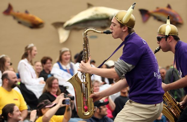 The Husky Saxes perform at the Viking Fest Parade in Poulsbo, Wash. on Saturday, May 16, 2015. (MEEGAN M. REID / KITSAP SUN)
