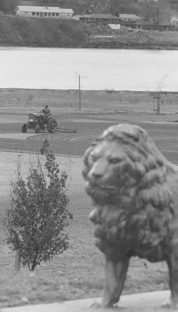 02/25/69 Tractor Dragging Lions Field