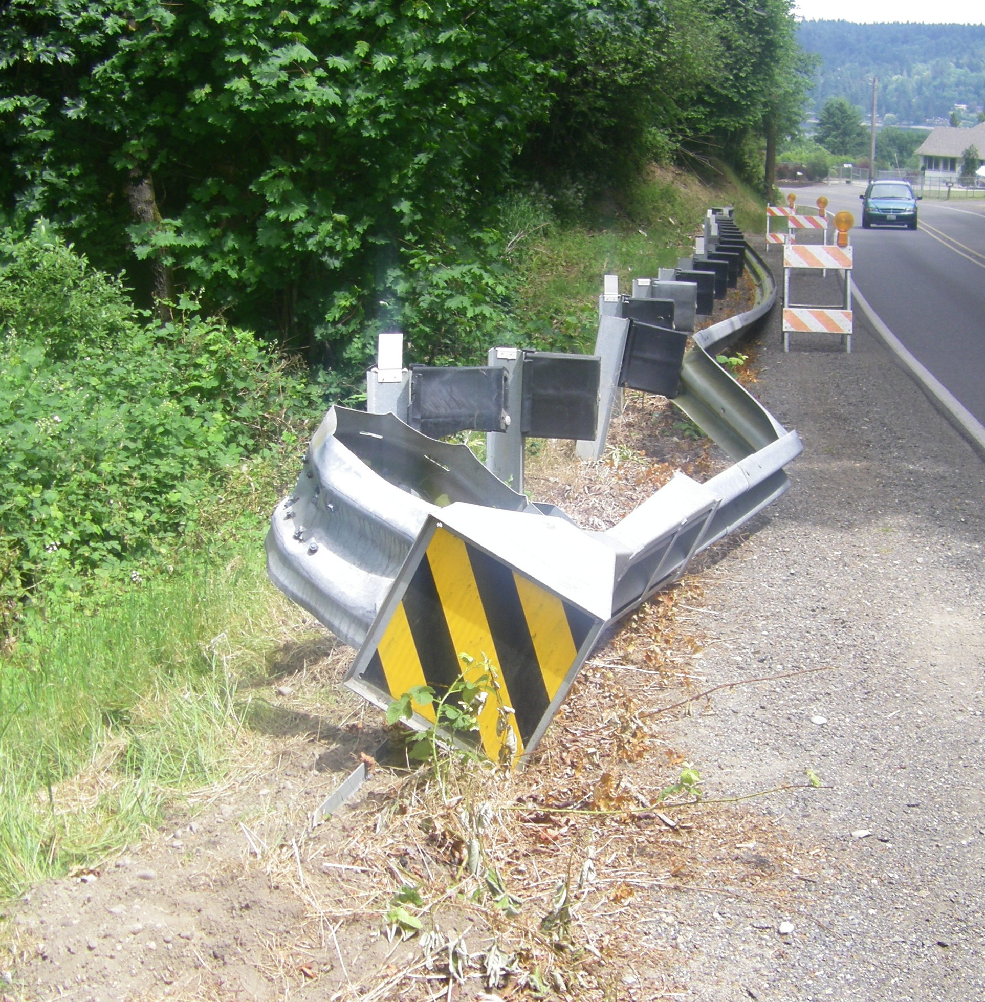 Ruined Illahee Road guard rail worked as intended | Road Warrior