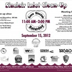 Flyer for September 15, 2012 beach cleanups on Sinclair Inlet (Port Orchard and Bremerton, WA). Click to see a larger version.
