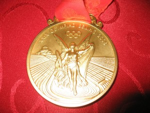 Nathan Adrian\'s Olympic Gold Medal from the 2008 Beijing Olympics