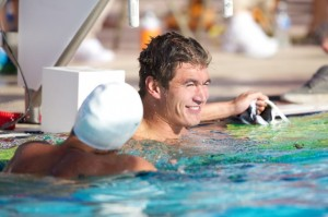 Nathan Adrian of Bremerton won the 100 freestyle Saturday in Barcelona, Spain, at the Mare Nostrum series. (Rafael Domeyko, rafaeldomeyko.com)