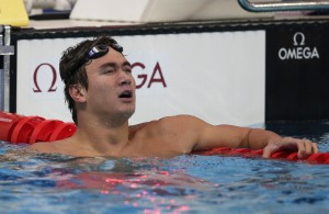 United States' Nathan Adrian checks his time after a men's 100 freestyle heat at the World Championships in Kazan, Russia, Wednesday. (AP Photo/Michael Sohn)
