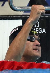 Bremerton's Nathan Adrian celebrates after the first 50-meter freestyle semifinal at the World Swimming Championships in Kazan, Russia, Friday. Adrian set an American record in 21.37. (AP Photo/Michael Sohn)