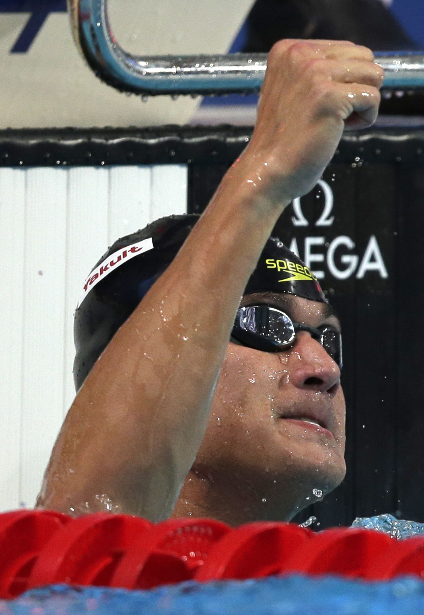 Celebrates after the first 50 meter freestyle semifinal at the world