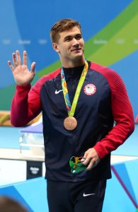 Nathan Adrian of Bremerton with his bronze medal after the men's 100m freestyle final in the Rio 2016 Summer Olympic Games at Olympic Aquatics Stadium. Mandatory Credit: Rob Schumacher-USA TODAY Sports