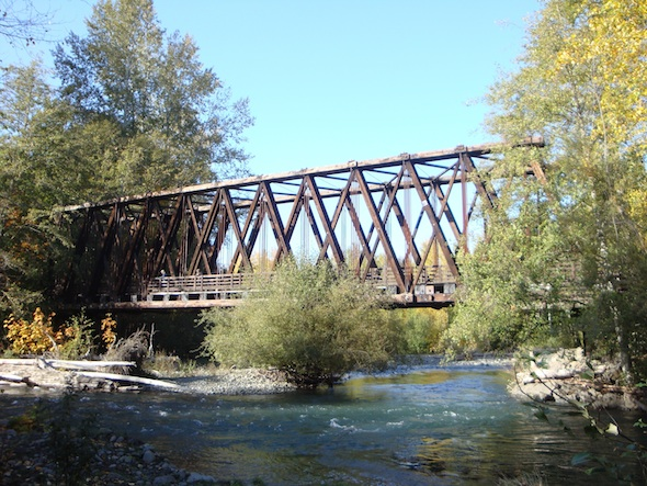 The bridge in better days. Photo courtesy of the Olympic Peninsula Tourism Commission