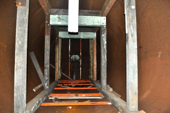 Inside the bomb shelter.