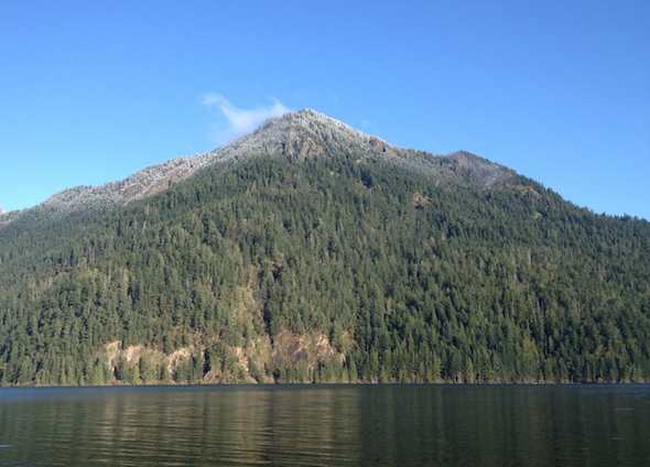 Pyramid Peak as seen from Lake Crescent Lodge.