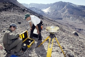 Geologists conduct tests on Mount St. Helens in 2004. Photo: Ted S. Warren/AP