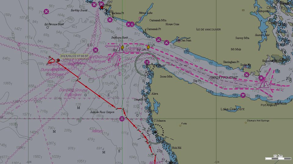 K pod has been tracked to an area offshore of Washington State and Vancouver Island.