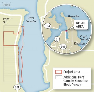 The Port Gamble project would involve the purchase of 1.8 miles of shoreline on the west side of Port Gamble Bay. Kitsap Sun map