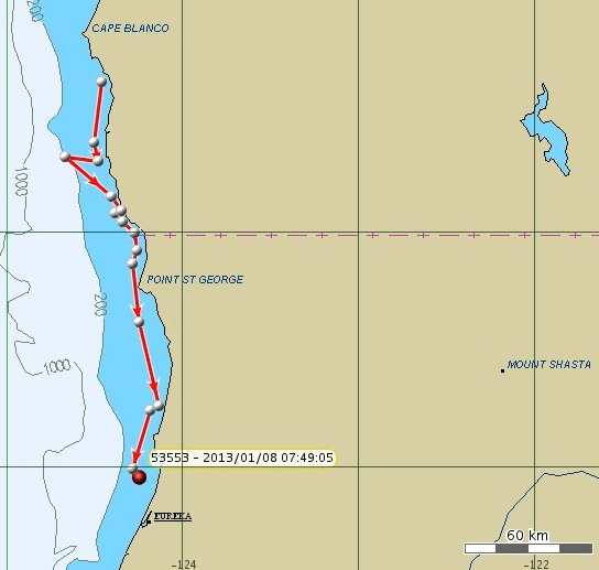 The latest plot shows K-25 off the California city of Eureka. NOAA map