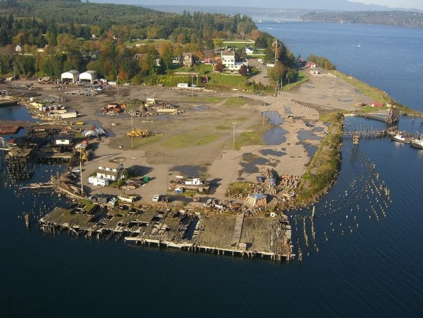 The site of the former Pope & Talbot sawmill, now a toxic cleanup site. Washington Department of Ecology Photo