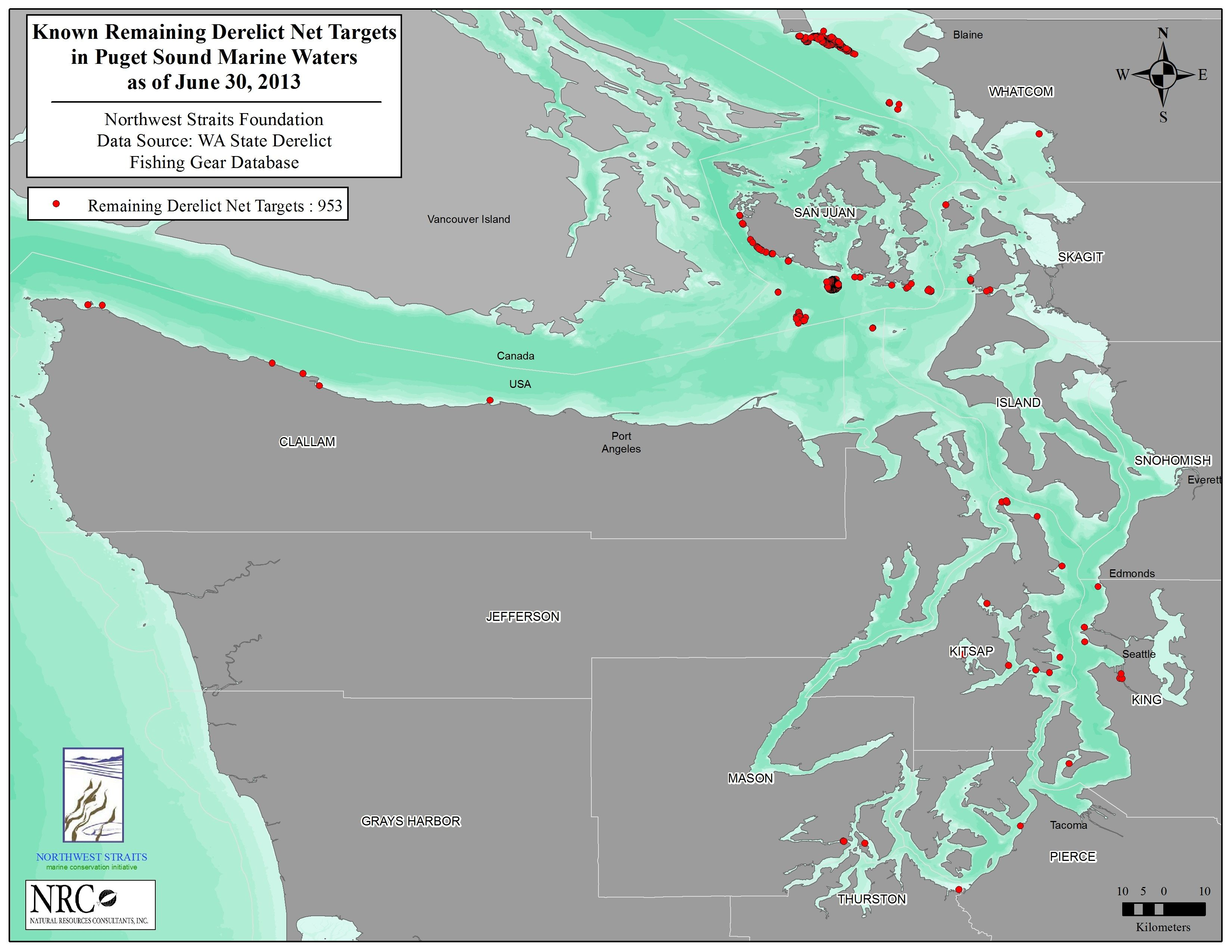 Sites where known nets are still killing fish. Map courtesy of Northwest Straits Commission