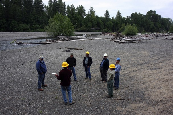 In 2009, members of the Skokomish Watershed Action Team observed how high flows in the Skokomish River had washed away vegetation and left huge deposits of gravel.
