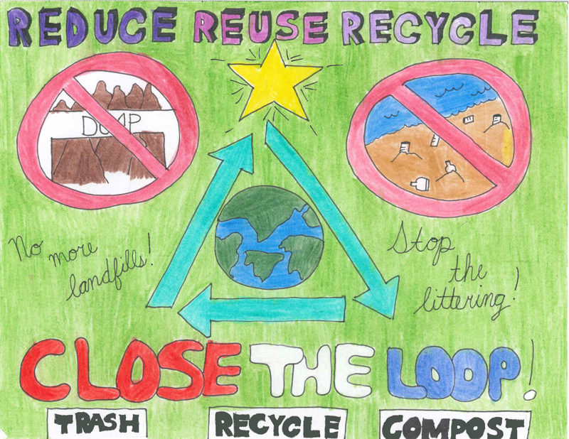 Li-Nelshin Co, a fifth grader at Esquire Hills Elementary School, created one of the winning posters for Kitsap Recycles Day.