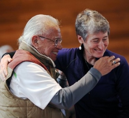 Billy Frank Jr. greets Interior Secretary Sally Jewell 10 days ago in Suquamish. Kitsap Sun photo by Rachel Anne Seymour