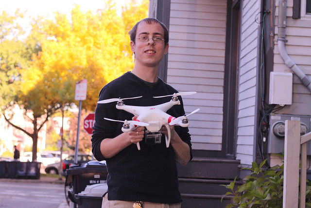 Christopher Schmidt with his Phantom drone. Photo courtesy of Christopher Schmidt.