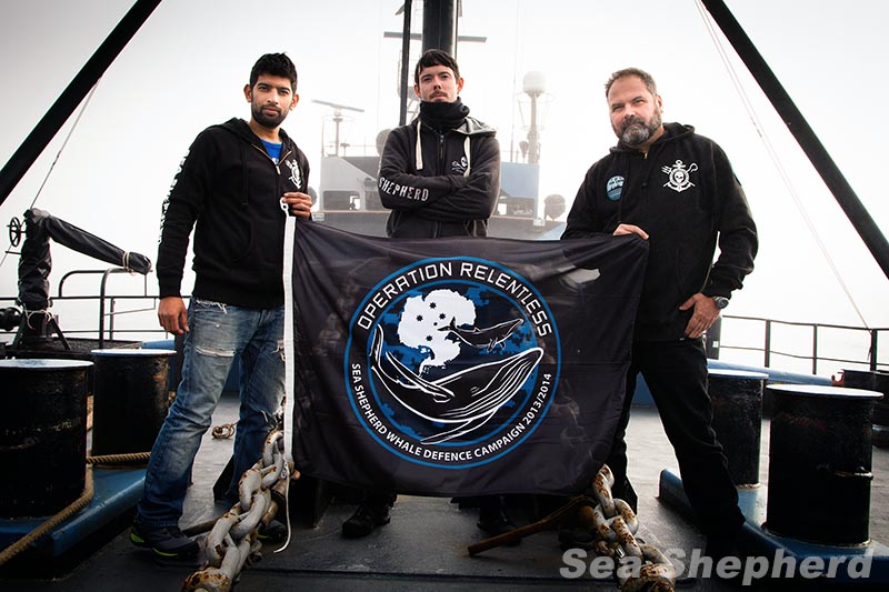 Sea Shepherd captains (from left) Sid Chakravarty, Peter Hammarstedt and Adam Meyerson during 2014 Operation Relentless Sea Shepherd photo by Eliza Muirhead
