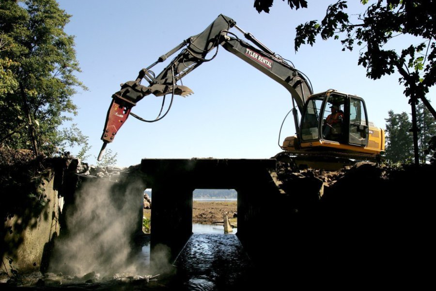 A culvert under Kittyhawk Drive was removed last summer next to the Highway 3 culvert. Kitsap Sun photo by Larry Steagall
