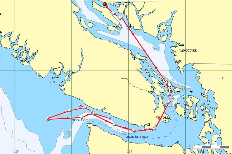 Jan. 12-15. Satellite tracking shows that J pod came back from the ocean on Monday, Jan. 12, and traveled through the Strait of Juan de Fuca, reaching Victoria the evening of Tuesday, Jan. 13. The orcas passed through the San Juan Islands overnight and reached the northeast side of Texada Island the morning of Thursday, Jan. 15. Map courtesy of NOAA