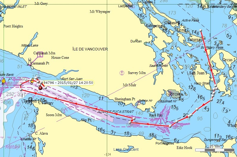 J pod travels, Jan. 24-27 Map: Northwest Fisheries Science Center