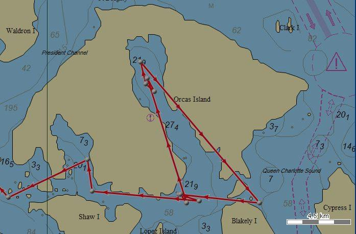 J-27 and other members of J pod moved into East Sound near Orcas Island on Monday. The cluster of points represent travels between 4 and 5 a.m. the next morning. A newborn orca was spotted Wednesday.
